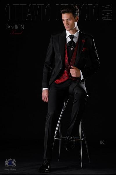 Italian bespoke black frock coat wool mix suit