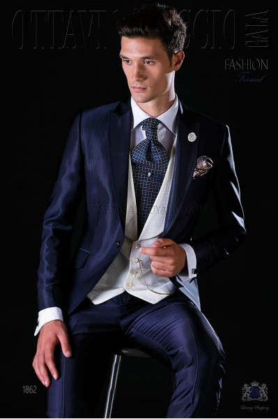 Italian bespoke blue wedding suit with satin contrast