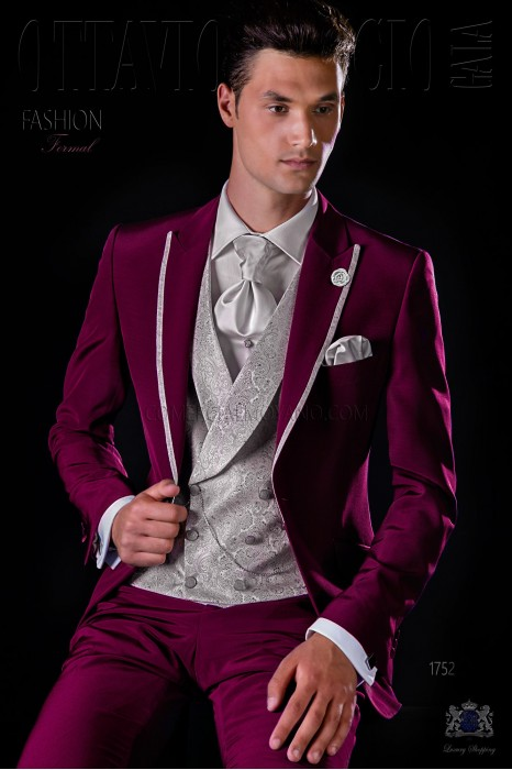 Italian bespoke burgundy suit with pearl grey contrast