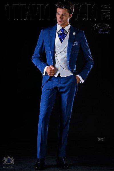 Traje de novio semilevita azul eléctrico