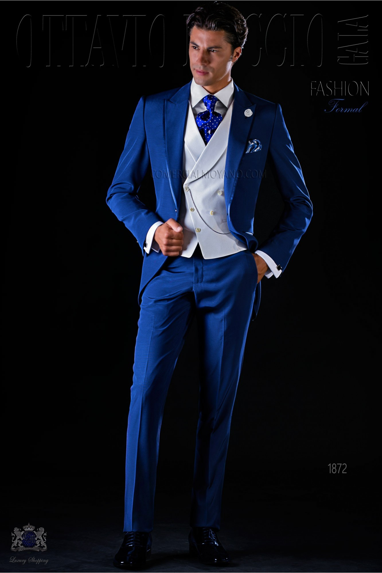 Italian bespoke frock coat electric blue suit