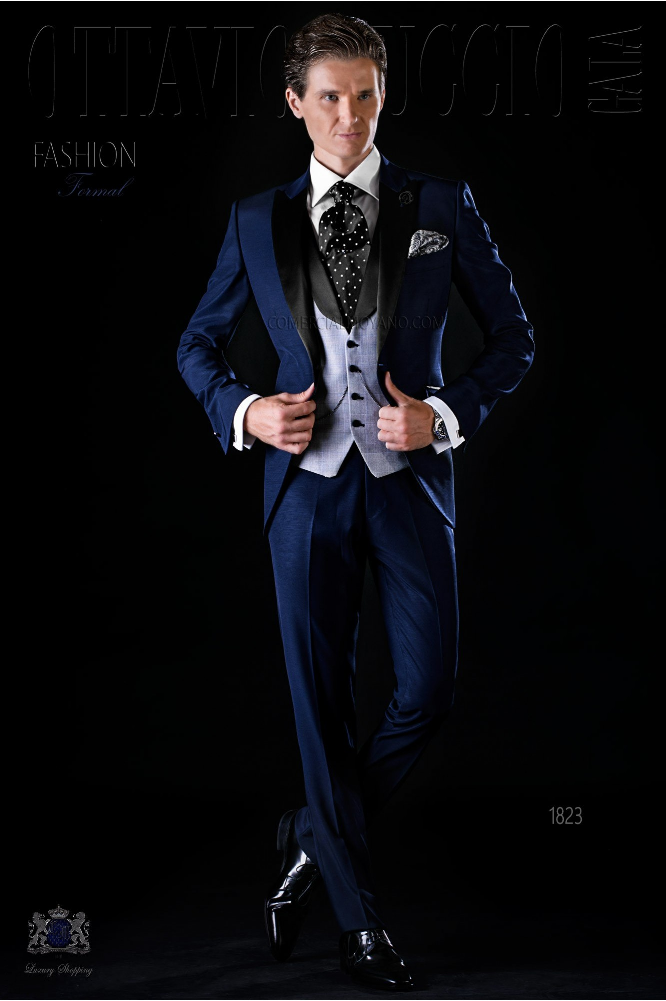 Italian bespoke blue suit with satin lapels model 1823 Ottavio Nuccio Gala