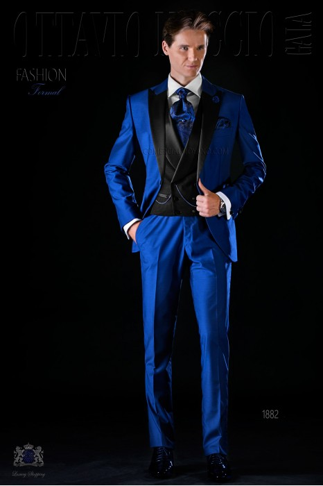Italian bespoke electric blue slim suit with satin lapels
