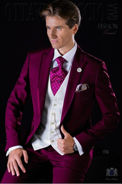 Italian bespoke burgundy wedding suit