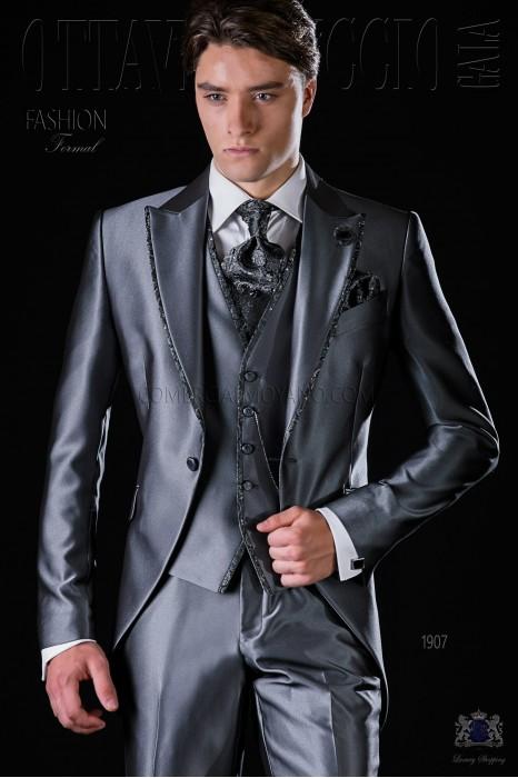 Italian bespoke anthracite grey frock coat suit
