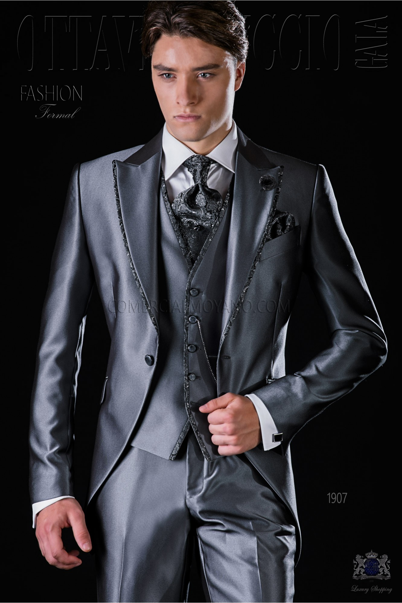 Italian bespoke anthracite grey frock coat suit