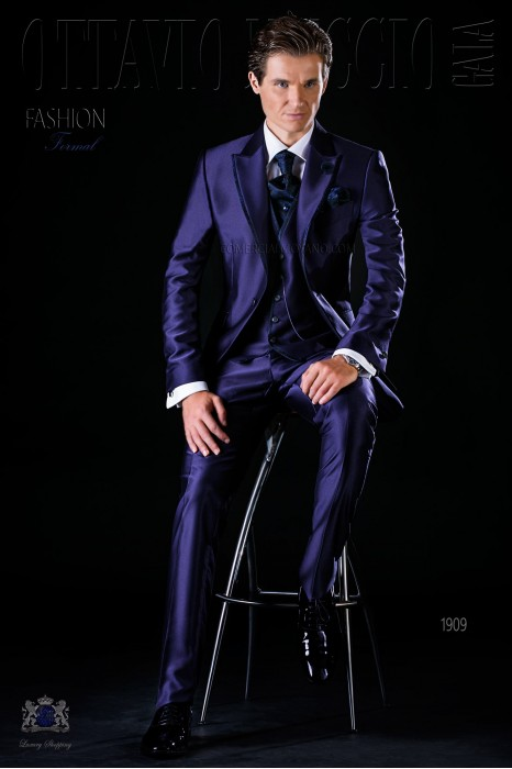 Italian bespoke frock coat blue suit with jacquard contrast
