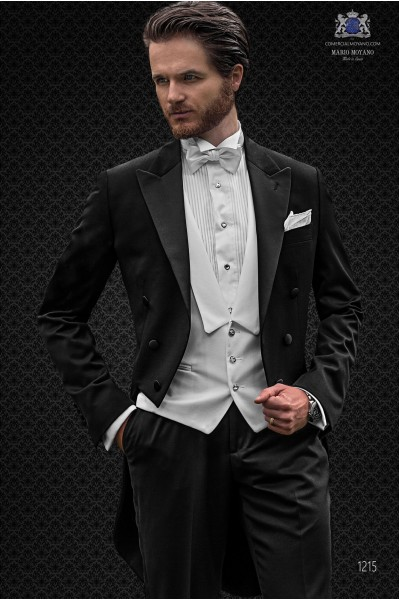 Italian black wool mix bespoke tailcoat with peak satin lapels