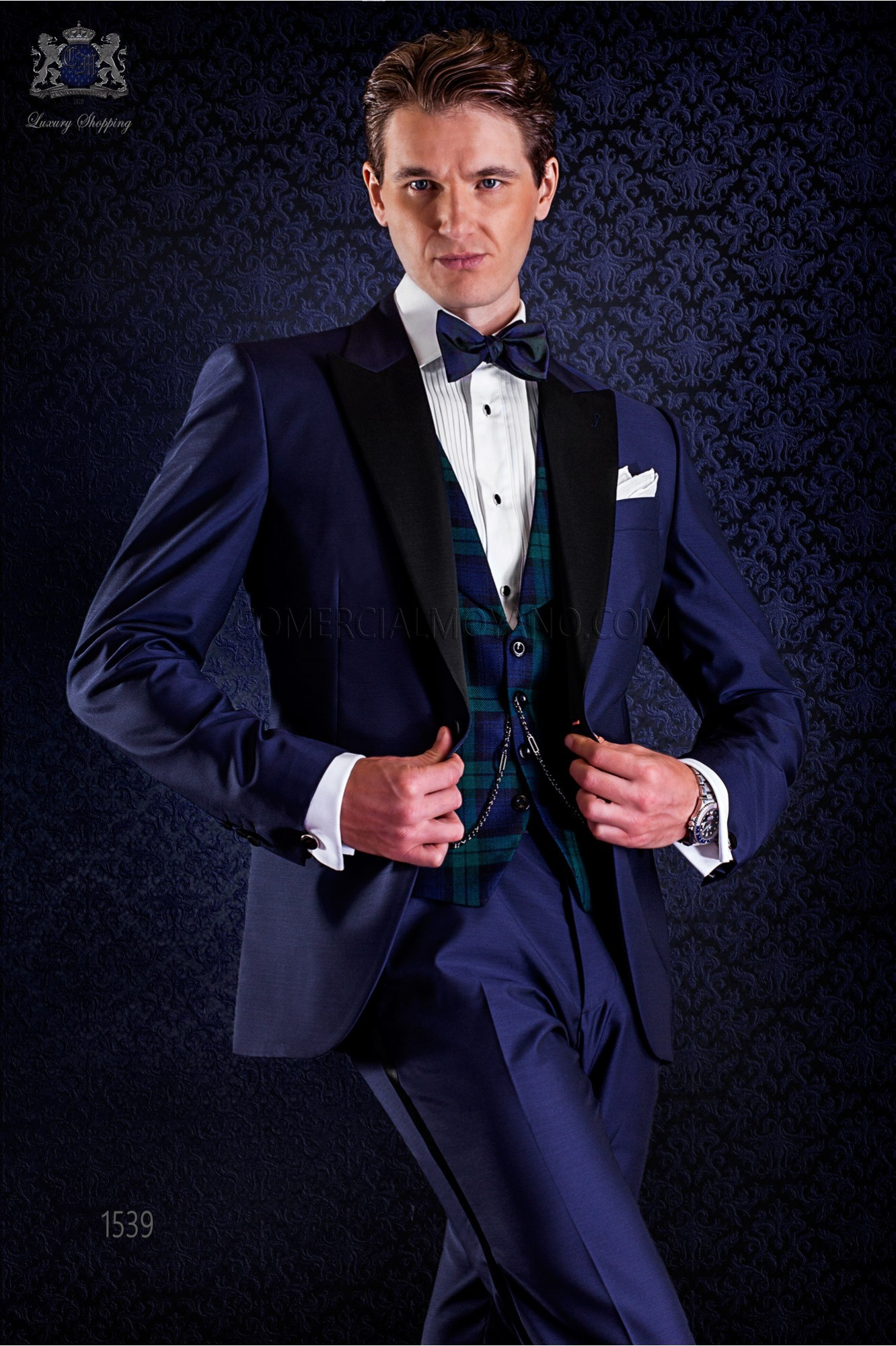 Italian bespoke blue tuxedo with peak satin lapels and 1 button. Wool mix fabric. model 1539 Ottavio Nuccio Gala