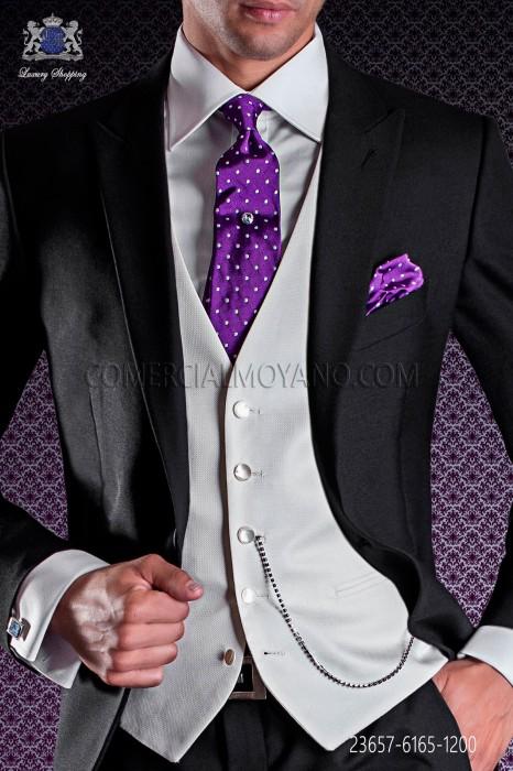 Rectal groom waistcoat modern, 5 button. Cream brocade fabric