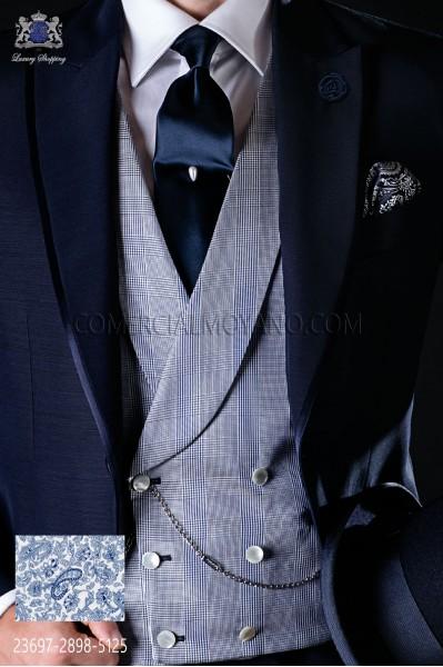Chaleco cruzado pura seda Príncipe de Gales azul
