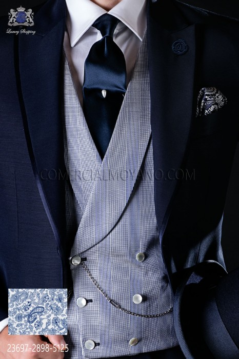 Waistcoat double breasted pure jacquard silk blue Prince of Wales