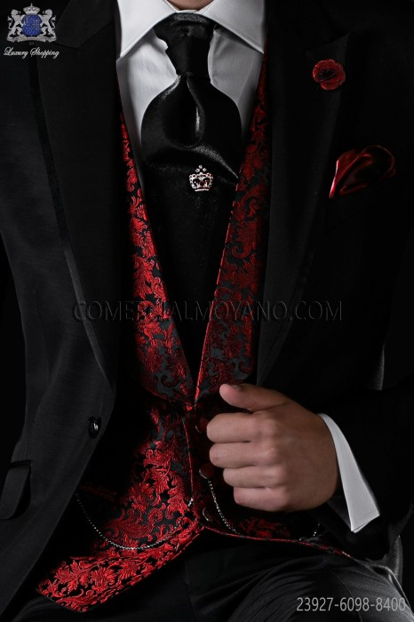 Red pure jacquard silk waistcoat with shawl collar