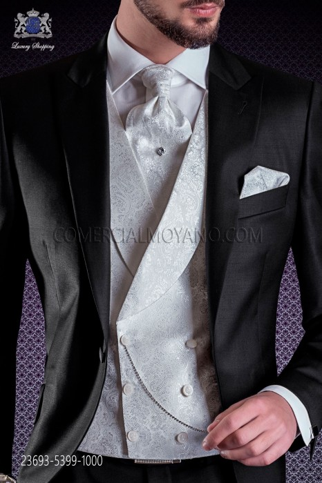 White jacquard waistcoat double breasted with shawl collar