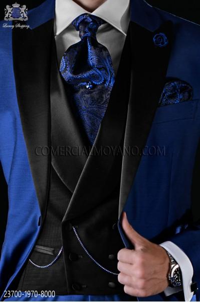 Chaleco cruzado de novio de estilo moderno italiano con solapas y 6 botones. Tejido new performance negro