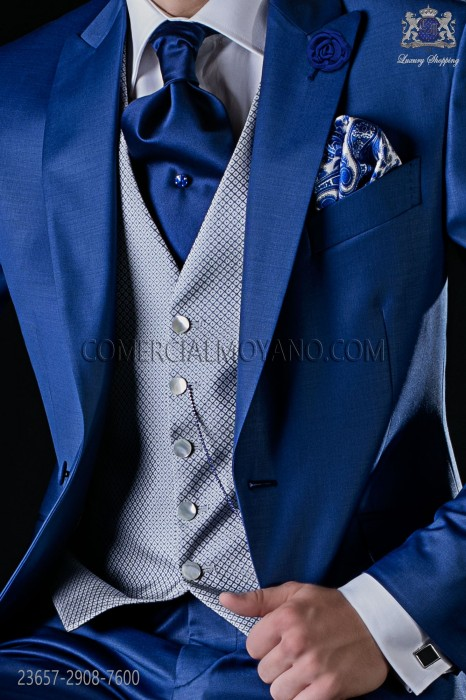 Waistcoat pure jacquard silk pearl grey and blue