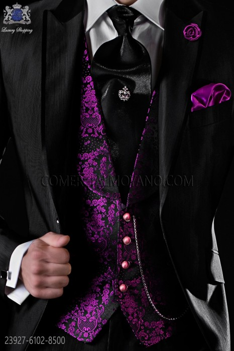 Fuchsia pure jacquard silk waistcoat with shawl collar