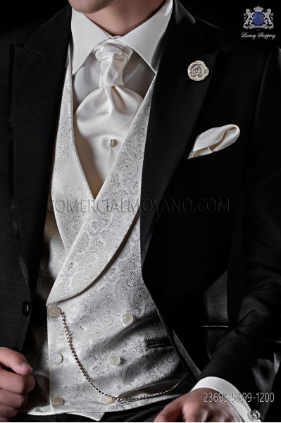 Ivory jacquard waistcoat double breasted with shawl collar