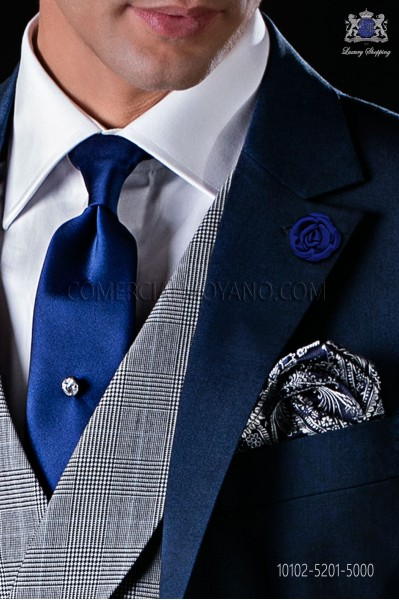 Italian royal blue satin tie