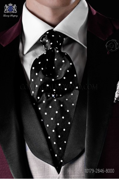 Italian pure jacquard silk black tie white polka dots
