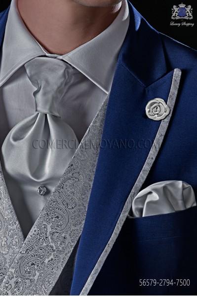 Corbatón gris perla raso mixto seda con pañuelo a juego