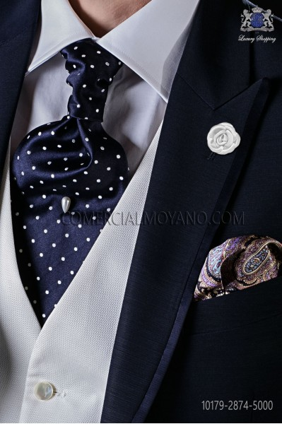Italian pure jacquard silk blue tie white polka dots