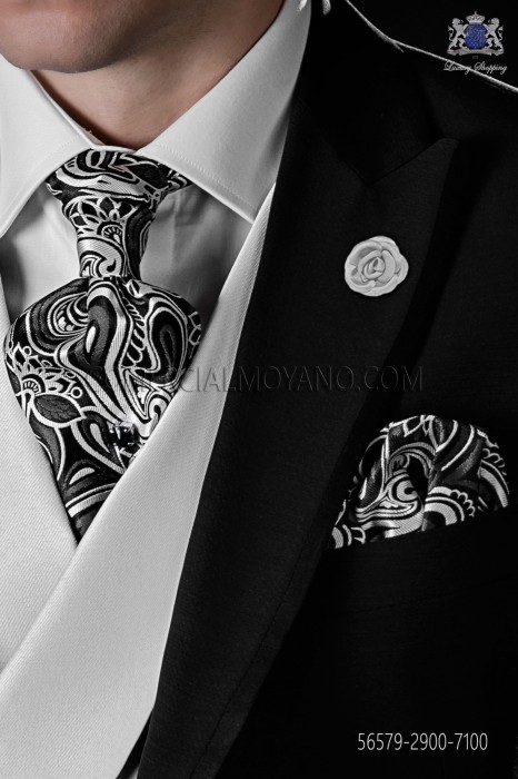 Black and white silk tie and matching pocket square
