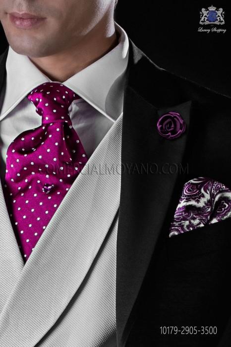 Italian pure jacquard silk fuchsia tie white polka dots