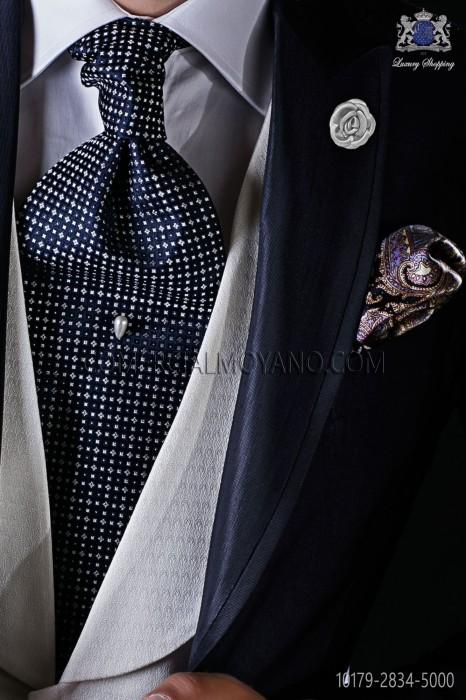 Italian pure jacquard silk blue tie white micro design