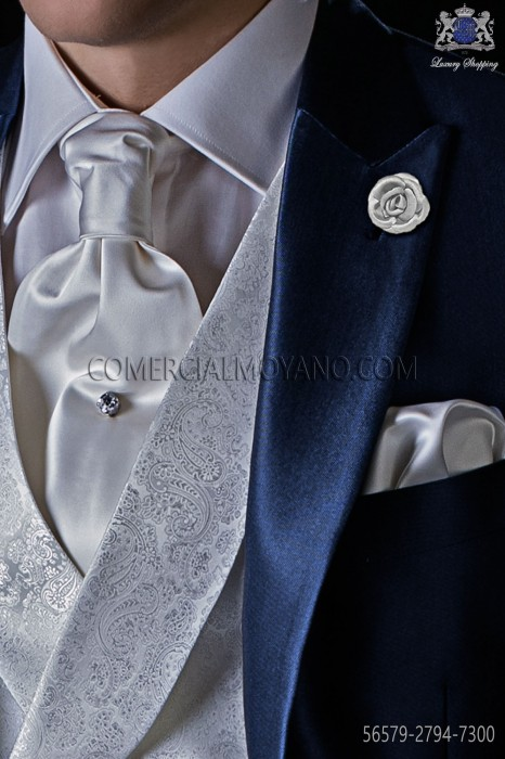 Pearl grey satin tie with matching pocket square.