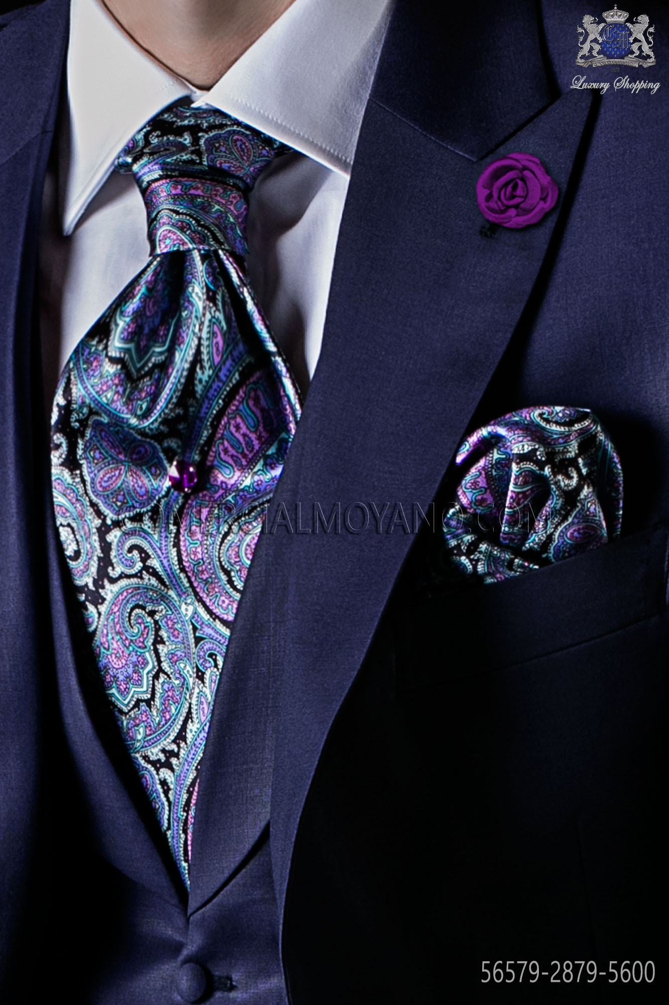 e3d9a885c0f4 Pure silk paisley tie and matching pocket square. Loading zoom
