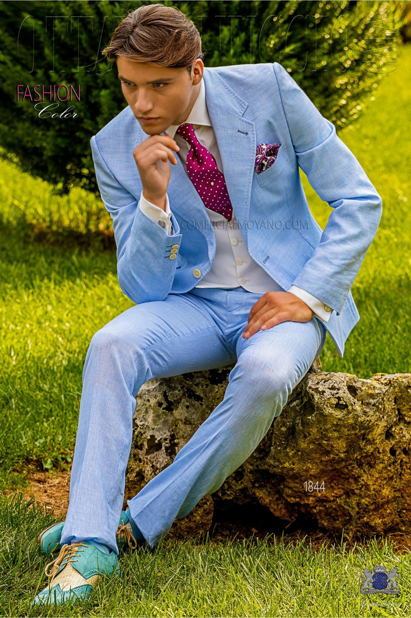 Traje de novio celeste de lino y algodón con pespunte