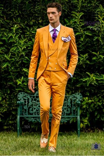 Traje de novio italiano a medida naranja de algodón