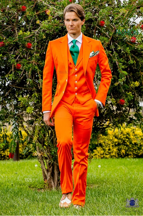 Italian stitched bespoke pure cotton orange suit