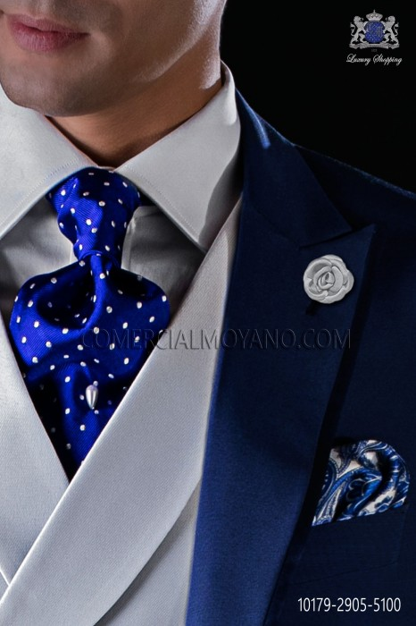 Italian pure jacquard silk royal blue tie white polka dots