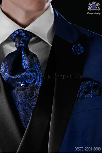 Black and blue silk tie and matching pocket square