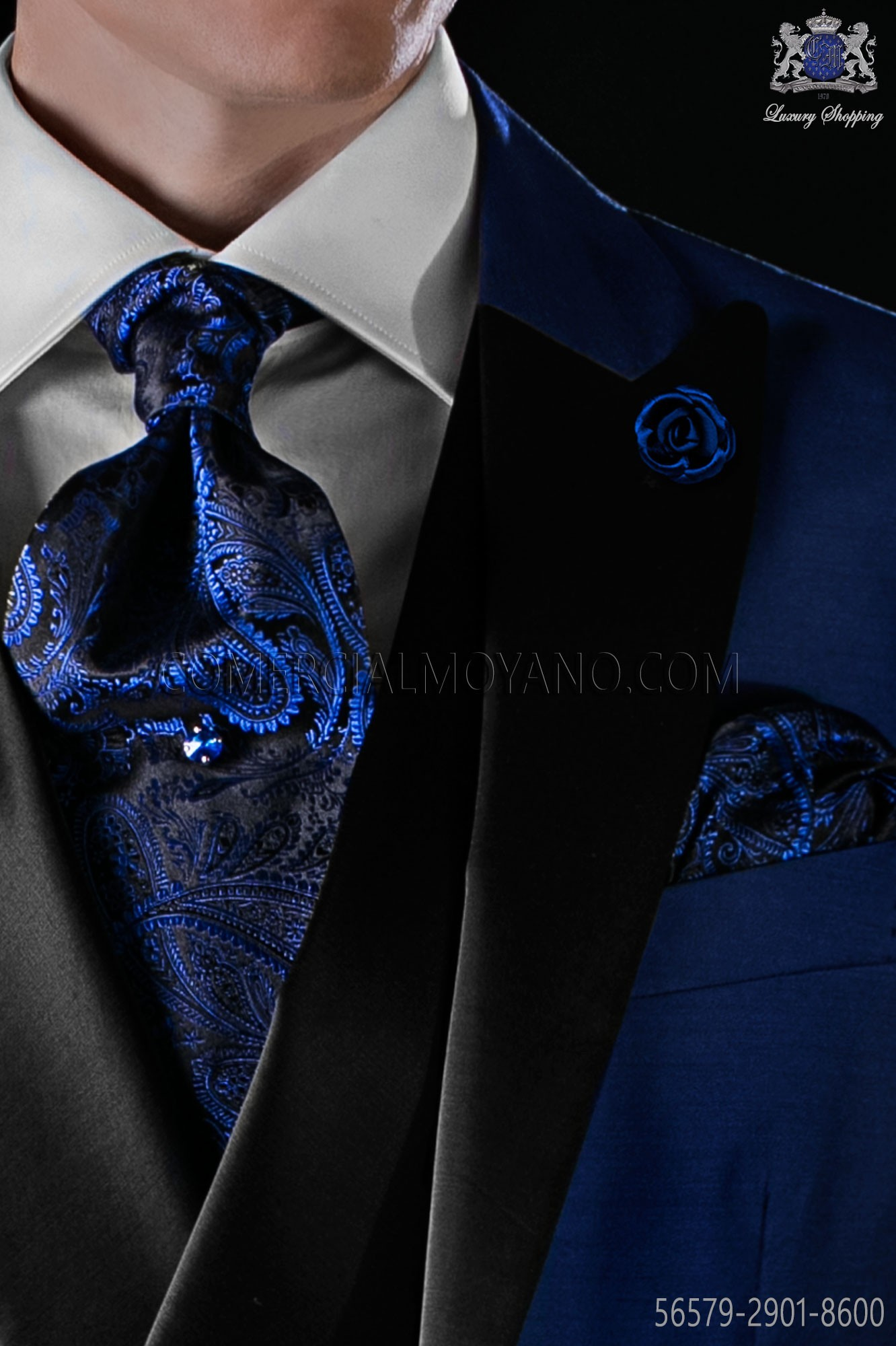 676dec29ec64 Black and blue silk tie and matching pocket square. Loading zoom
