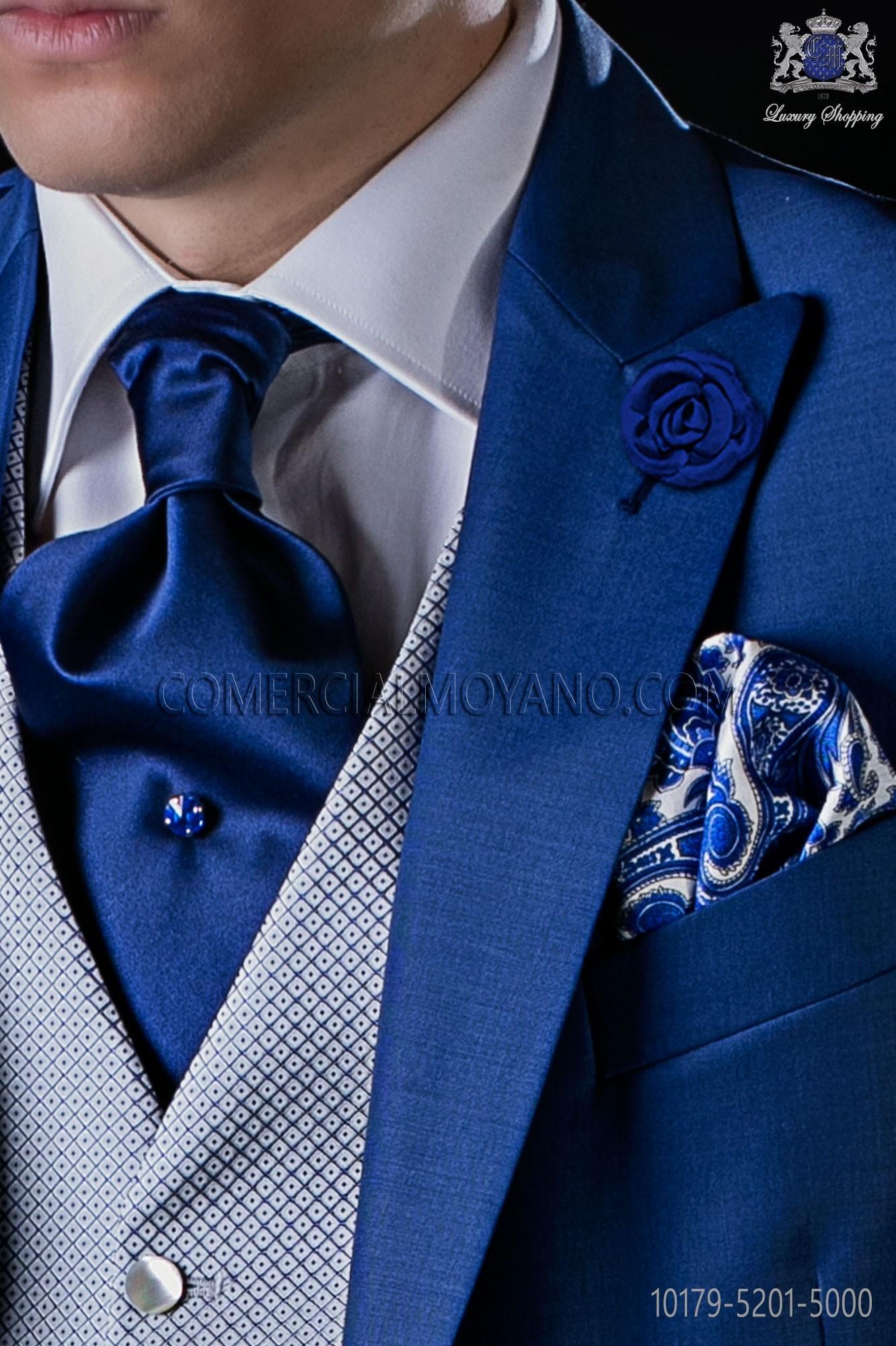 Cravate italienne bleu royal de satin