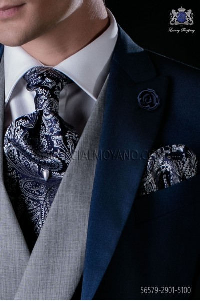 Blue and silver silk tie and matching pocket square