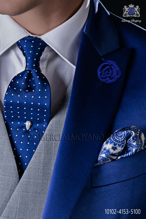 Italian royal blue tie with white polka dots design