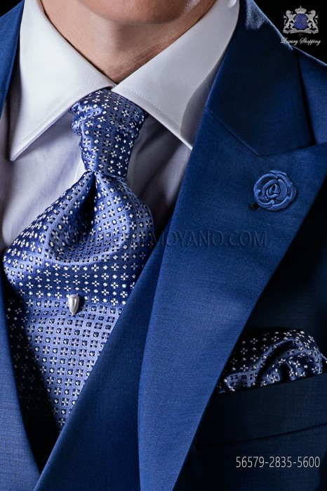 Light blue silk tie and matching pocket square