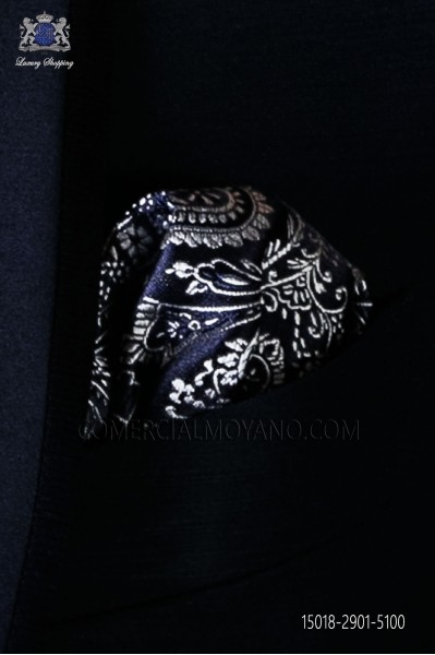 Pure silk blue pocket square silver paisley design