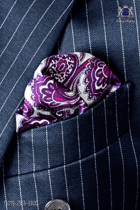 Pure silk white pocket square purple paisley design