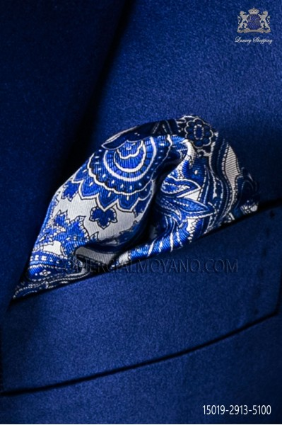 Pure silk white pocket square blue paisley design