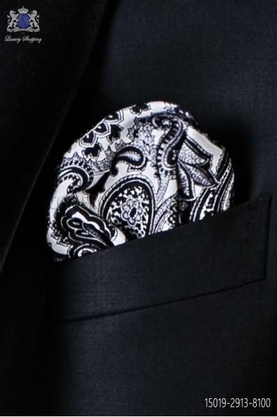 Pañuelo de pura seda blanco con diseño paisley negro