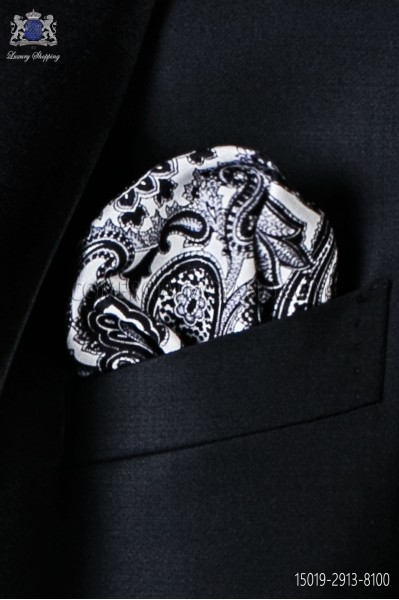 Pure silk white pocket square black paisley design
