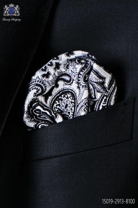 Pure silk white pocket square black paisley design