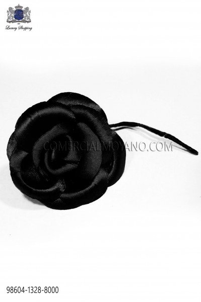 Lapel flower made of black satin fabric