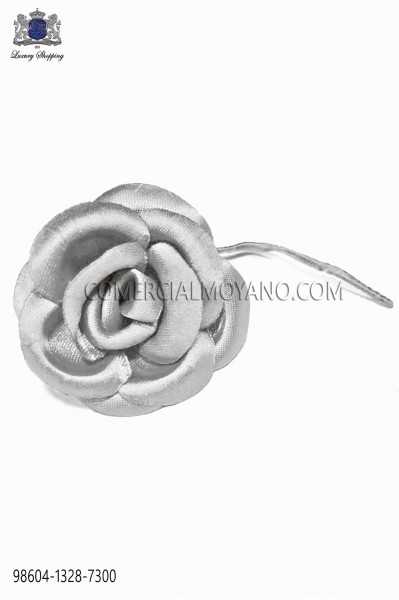 Lapel flower made of pearl grey satin fabric