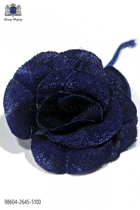 Lapel flower made of shiny royal blue fabric